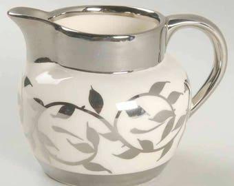 Early mid-century (1954) Myott Old Silver Luster 1505F hand-painted large creamer or milk jug. Broad platinum bands, platinum leaves.