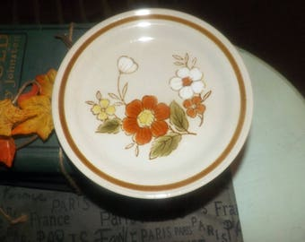 Vintage (1970s) Mountain Wood Trellis Blossom bread-and-butter, dessert, or side plate. Orange, white florals, brown band. Made in Japan.