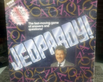 Vintage (1992) Jeopardy Master's Edition board game published by Tyco based on the TV game show of the same name.  Complete.  Made in USA.