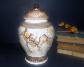 Vintage (1950s-1960s) INARCO covered cookie jar. Also suitable as a large canister. High-relief Chinoiserie florals. Made in Japan.