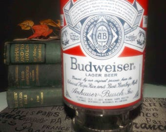 Vintage (late 1970s) Budweiser | Anheuser Busch stemmed pint glass.  Etched-glass logo and wording.
