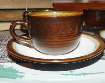 Vintage (1960s) Franciscan | Interpace Chestnut pattern tea set (flat cup with matching saucer). Made in England.