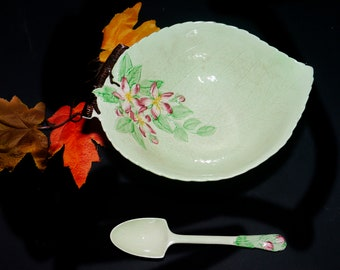 Vintage (1930s) Carlton Ware Apple Blossom salad serving bowl with matching spoon. Made in England.