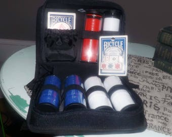 Vintage (1980s) Bicycle Cards Poker kit. Zippered carry case w/handle, poker dice, deck Bicycle playing cards, 600 colored chips in tubes.