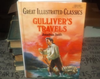 Vintage (1995) Great Illustrated Classics hard-cover book Gulliver's Travels published and printed in the USA by Baronet Books. Complete.
