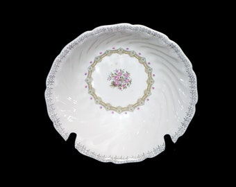 Vintage (1960s) Sovereign Potters Fidelity round vegetable serving bowl. Pink flowers, fleur de lys. English ironstone decorated in Canada.
