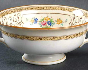 Antique (1900) Minton Cambridge Brown B1323 hand-painted, double-handled cream soup cup (no saucer).  Made in England.  Gold abounding.
