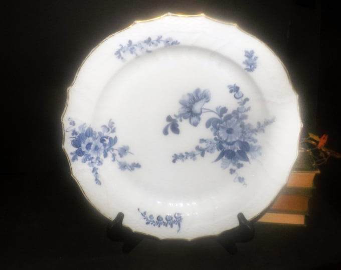 Antique (early 1920s) Royal Copenhagen 10   1563 hand-painted Braided Blue Flowers chop plate   round platter. Flawed (see below).