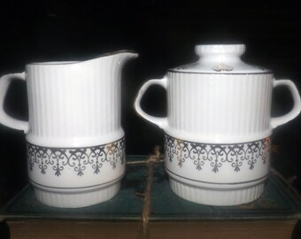 Early mid-century (1940s) Gibsons England hand-decorated W907 | W797 creamer or covered sugar bowl. Abundant gold, gold scrolls.