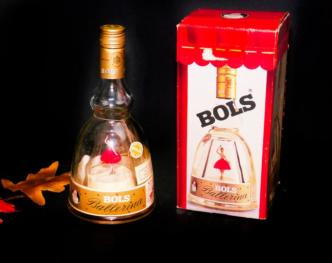 Mid-century BOLS Ballerina music box bottle made in France. Music box currently not operating.
