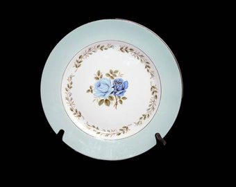 Early mid century Barratts BTT3 dinner plate. Blue roses. Delphatic White ironstone made in England. Sold individually.