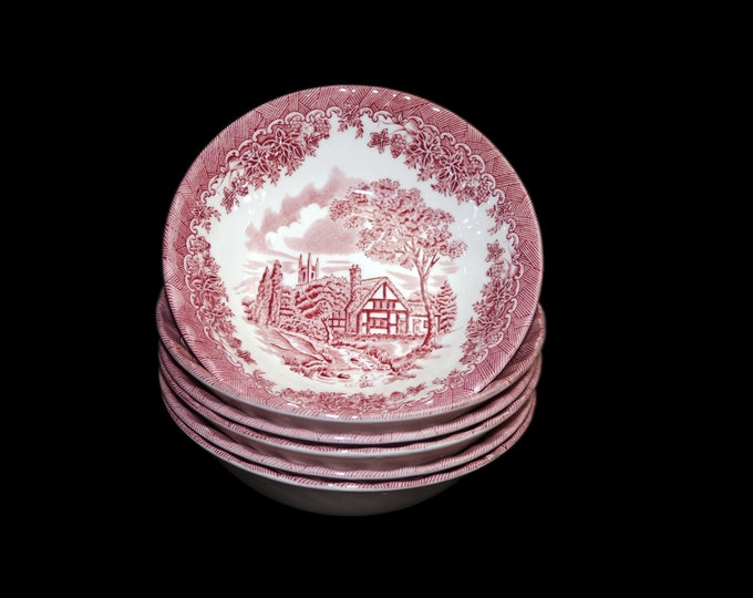 Vintage (1993) Churchill China The Brook Pink transferware coupe cereal bowl made in England. Sold individually.