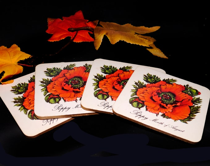 Set of four vintage acrylic cork-backed coasters. Poppy Month of August. Attributed Pimpernel England 1970s.