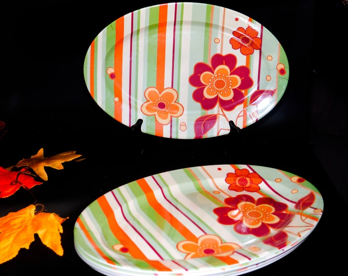 Set of six Melaware flower power melamine burger or vegetable platters. Multicolor flowers and stripes. Great for the patio, BBQ.