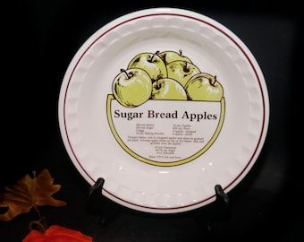 Vintage (1980s) CE Springer stoneware Sugar Bread Apples recipe pie plate. Central recipe sugar bread apple pie, crimped edge. Made in Korea