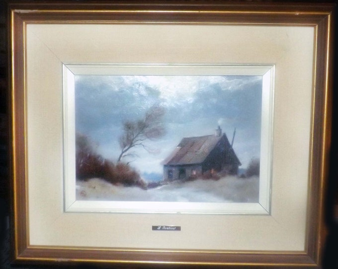 Vintage (1993) original, signed, framed oil on on board by listed Dutch-Canadian artist Louis Boekhout entitled Un Matin Froid.