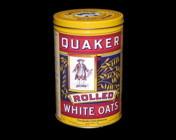 Vintage (1980s) Quaker Oats Rolled White Oats bilingual recipe tin. Recipe for making oatmeal cookies.