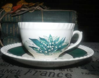 Early mid-century Sovereign Potters Sovereign Princess cup and saucer set made in England. Sets sold individually.