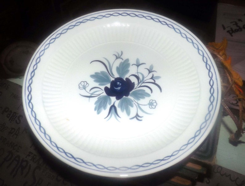 floral center Vintage Real English Ironstone. William Adams Baltic pattern blue-and-white salad or side plate 1980s Blue rope band