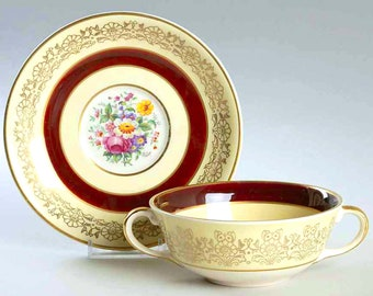 Vintage (1930s) Johnson Brothers JB311 double-handled cream soup cup with matching saucer. Maroon bands, flowers, filigree.