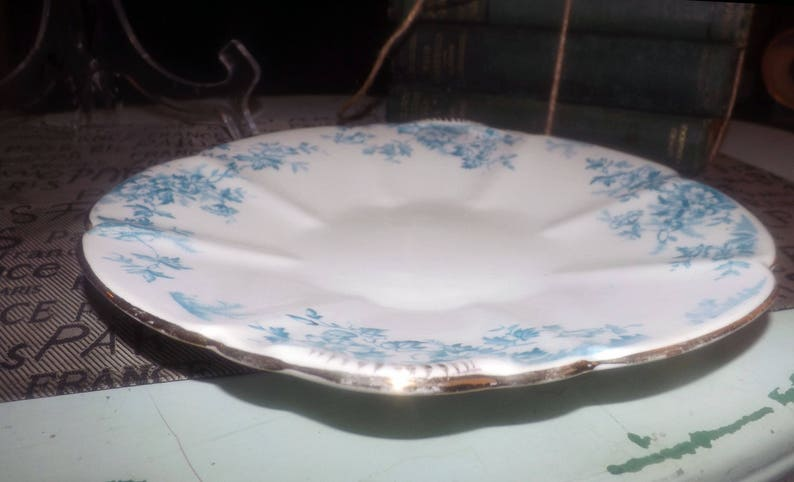 1856-1873 Blue florals on white Worthington /& Harrop Ely hand-decorated or pastry serving plate gold edge cookie Antique lugged cake