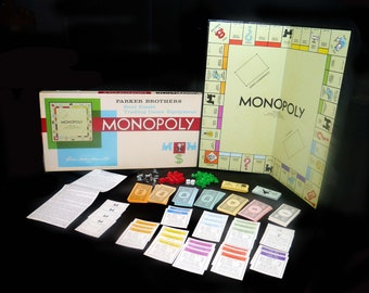 Vintage (1961) Monopoly board game published by Parker Brothers. Complete. Metal player pawns. Made in USA.