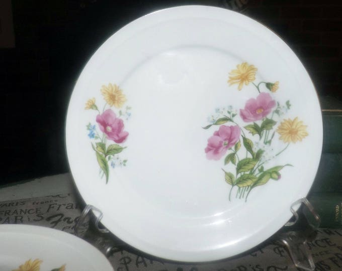 Vintage (1960s) Freiberger salad or side plate made in Germany. Multicolor florals. Sold individually.