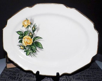 Early mid-century Royal Darwood Moss Rose oval serving platter made in the USA.