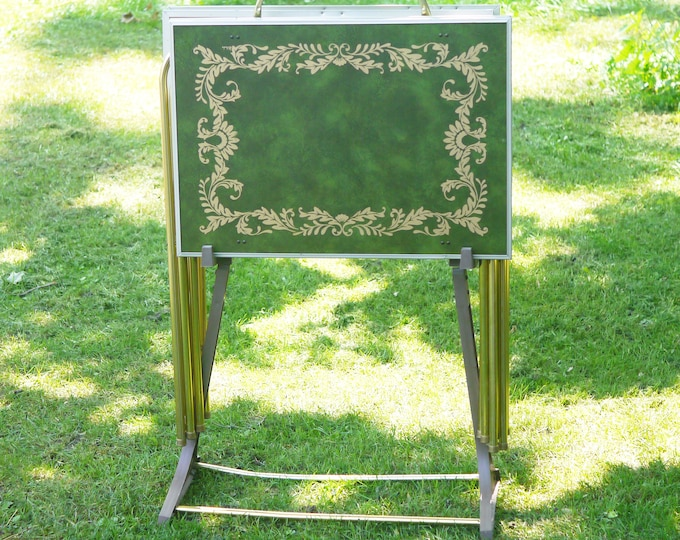 Set of four retro vintage (1970s) TV tables | TV trays with stand. Green marble look with gold scrolls.