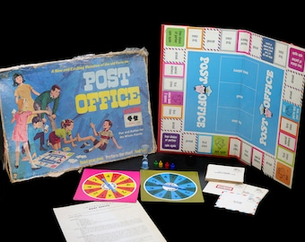 Vintage (1968) Post Office board game published in Canada by Hasbro | Hassenfelt. Game of stunts. Complete.
