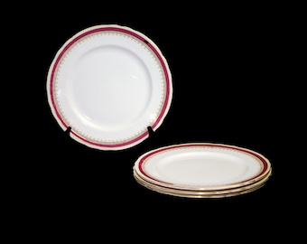 Vintage (1960s) John Aynsley Wendover Maroon large, bone dinner plate or charger made in England. Sold individually.