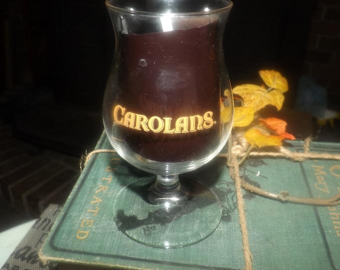 Vintage Carolans Irish Cream liqueur small, stemmed snifter glass. Etched-glass Carolans logo.