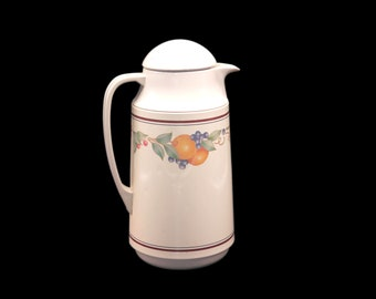 Vintage (1980s) Corning Fruit Abundance Thermique insulated thermos, coffee or tea carafe made in Taiwan.