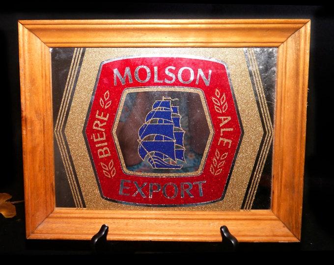 Vintage (1970s) Molson Export Ale framed etched-glass bar mirror. Old Export branding sailing ship, solid wood frame. Great home bar decor.
