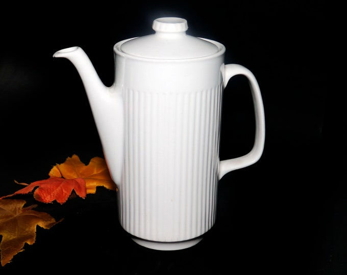 Mid-century Johnson Brothers Athena tall six-cup teapot with lid. All-white ironstone made in England.