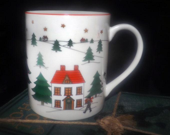 Vintage (1980s) Fine China of Japan Christmas Pleasure | JAP97 coffee or tea mug red trim. Sold individually.