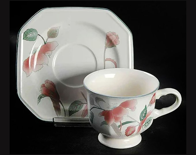 Vintage (1980s) Mikasa Silk Flowers F3003 stoneware cup and saucer set made in Japan. Pink flowers, teal leaves.