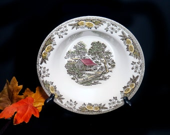 Mid-century Royal China Fairoaks | Fair Oaks round rimmed vegetable serving bowl made in the USA. Flawed (see below).