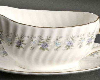 Vintage (1970s) Minton Alpine Spring gravy boat and matching under plate.