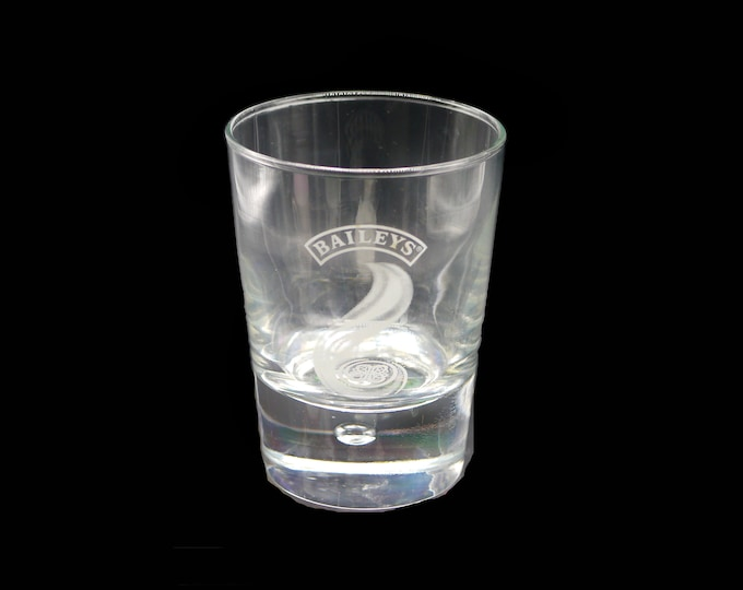 Vintage Bailey's Irish Cream on-the-rocks | old-fashioned glass. Etched-glass branding, weighted base.  Commercial quality.
