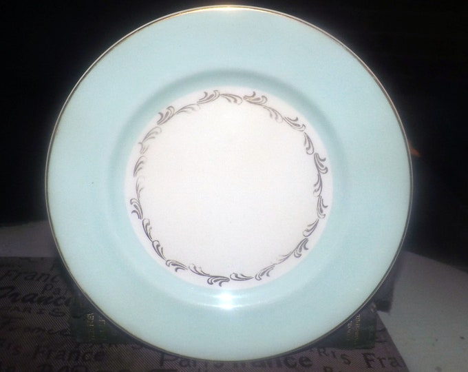 Mid-century Johnson Brothers JB917 hand-decorated salad or side plate. Aqua band, gold scrolls and edge. Minor flaw (see below).