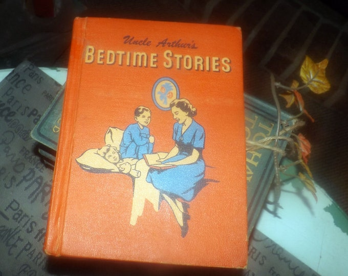 Mid-century (1951) children's hardcover book Uncle Arthur's Bedtime Stories Volume 5. Christian-themed kid lit. Review & Herald. Complete.