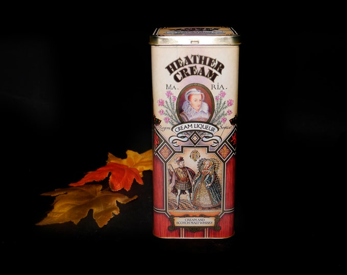 Vintage (1987) Heather Cream liqueur tin made in England. Celebrating the 400th Anniversary of Mary Queen of Scots. Great for home bar.