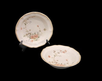 Pair of vintage (1980s) Mikasa Silk Bouquet EC463 rimmed stoneware soup bowls. Vintage stoneware made in Japan. Flaws (see below).