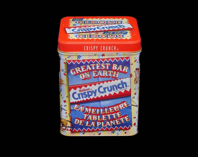 Vintage (1980s) Neilson Crispy Crunch At the Circus au Cirque Greatest Bar on Earth bilingual tin made in the USA.