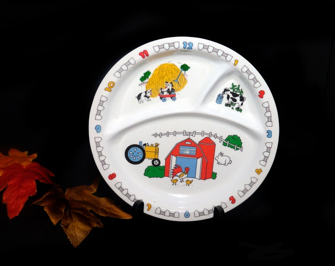 Vintage Melaware 1000514 baby | child divided melamine lunch or dinner plate. Clock numbers on rim, farm animals, three sections.
