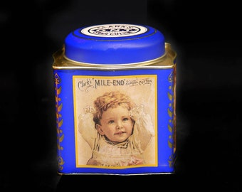 Vintage Clark's Mild End Spool Cotton reproduction tin made by Tindex.