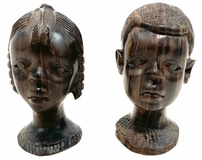 Pair of vintage (attributed 1960s) solid exotic wood hand-carved African busts. Boy and girl. Wonderful detail. Black Americana.