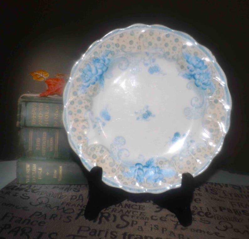Regent China Antique Blue florals Thomas Morris England Malta art-nouveau bread-and-butter early 1910s yellow verge. tea plate