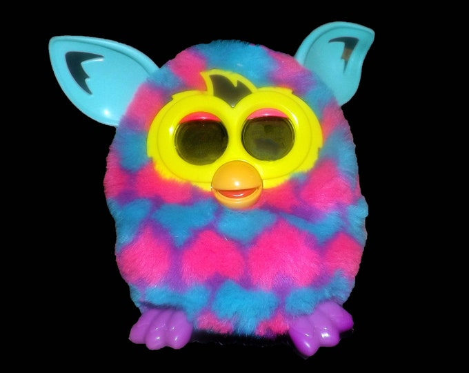 Furby Interactive | Electronic Toy made by Hasbro. Teal ears, purple feet, multicolor pink, purple and teal stripes. Fully functioning. 2012